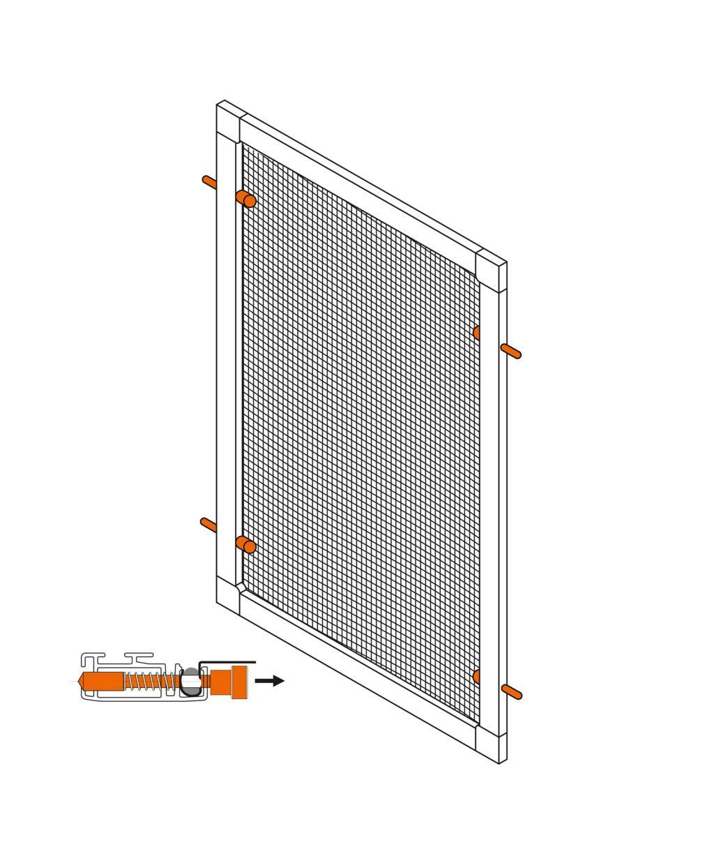 Spring pin mounting set for fly screen windows.