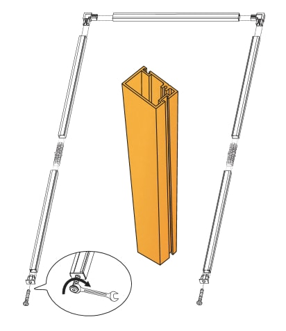 Diagram of Sub-frame for Fly screen doors